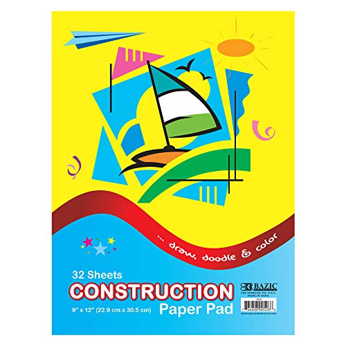 """BAZIC 32 Sheets 9"""" X 12"""" Construction Paper Pad, Assorted Colors Great For Creative Draw Cut Glue Fold, Gift for Toddler Kids Classrooms School Home DIY Projects -  BAZIC Products, 528"""