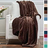 The Connecticut Home Company Micromink Velvet with Sherpa Reversible Throw Blanket, Super Soft, Large Wrinkle Resistant Blankets, Warm Hypoallergenic Washable Couch or Bed Throws, 65x50, Brown