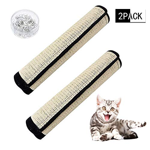 Wainbowa 2pack Cat Scratching Mats Cat Scratcher Pads Replacement for Cat Tree Natural Sisal Mat with Velcro and Spiral Pins for Wrapping Around Furniture Sofa Couch Chair Desk Legs