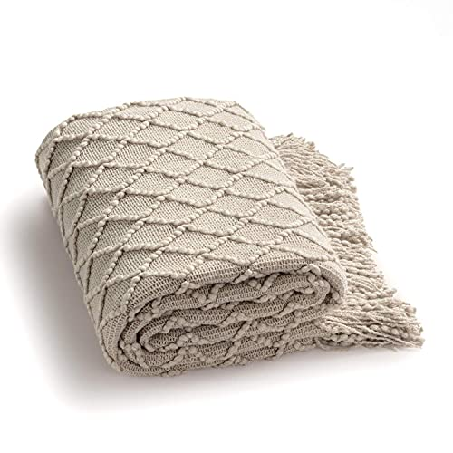 Bedsure Throw Blanket for Couch 50 x 60 inches - Knit Woven Summer Blankets, Cozy Lightweight Decorative Throw for Sofa, Bed and Living Room - All Seasons Suitable for Women, Men and Kids (Beige)