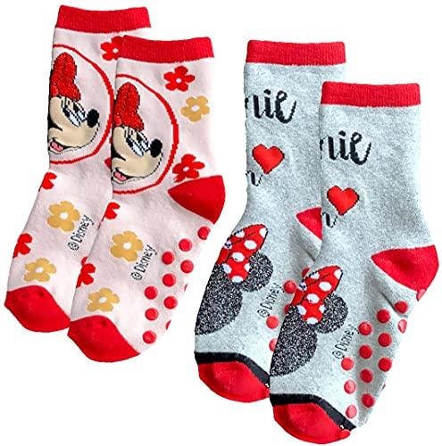 Minnie Anti-Rutsch Socken Mädchen Rot + Hellgrau Mouse Noppensocken Gr.23/26 27/30 31/34 (Rosa, 23/26)