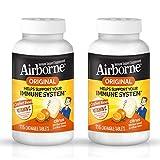 Vitamin C 1000mg (per serving), Airborne Citrus Chewable Tablets (116 count in a bottle), Gluten-Free Immune Supplement, Vitamins A C E, ZINC, Selenium, Echinacea & Ginger, Antioxidants (Pack of 2)