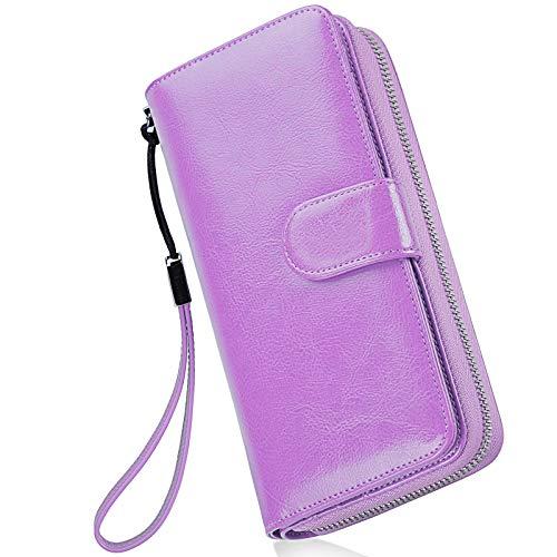 Monederos Mujer Cartera Cuero de Mujer Grande Capacidad Wallet con RFID Bloqueo, Larga Billetera Bolsos con Bolsillo de Cremallera y Correas de Muñeca Púrpura