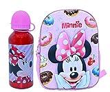 Mochila Disney Minnie Mouse 35cm Infantil 3D con Botella de Agua de Aluminio de 400ml cantimplora térmica a Prueba de Fugas sin BPA
