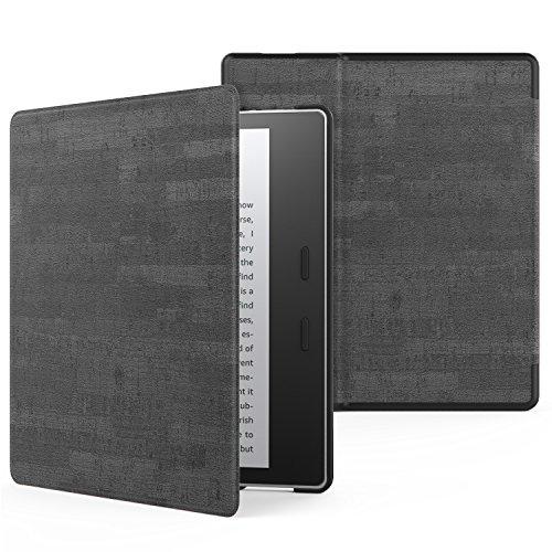MoKo Funda Compatible con All-New Kindle Oasis (9th and 10th Generación Solo, 2017 and 2019 Release) - Ultra Delgada Ligera Smart-Shell Soporte Cover Case - Pizarra Negro