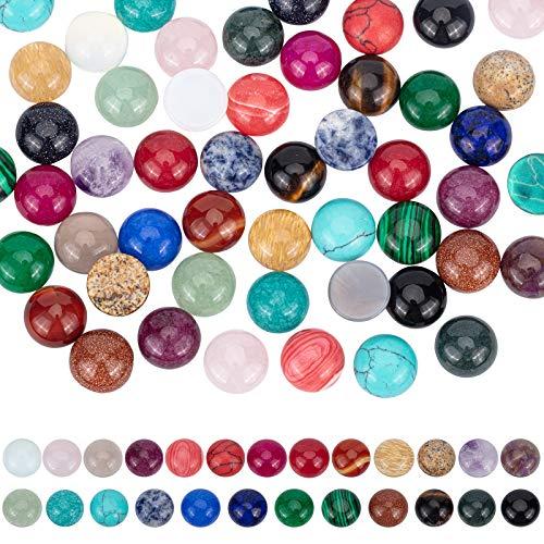 PandaHall 50 piezas de 25 colores de piedras preciosas cabujones naturales de piedra sintética de 12 mm de cuarzo cabujones de cristal para pendientes, collares, pulseras y joyas