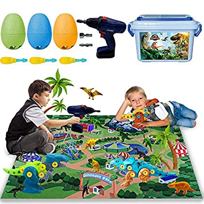 Take Apart Dinosaur Toys for Boys - Building Toy Set with Electric Drill Dino Easter Egg Realistic Dino Figures DIY Construction Engineering Play Kit STEM Learning for Kids Boy Girl Age 3-6 Year Old