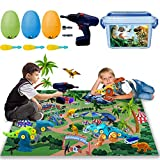 Take Apart Dinosaur Toys with Realistic Dinosaur Figures, Activity Play Mat, Dino Eggs, Electric Drill for Creating a Dino World, 108 PCS Dinosaur Playset Gifts for Boy & Girl 3,4,5,6 Years Old
