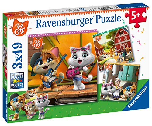Ravensburger Puzzle - 44 Gatos Puzzle 3 X 49 Pz, Puzzle Para Niños