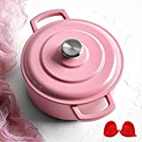 Covered Cast Iron Dutch Oven, Enameled Cast Iron Casserole Dish with Lid, Non-Stick Cooking Pan Pot Dutch Oven for Kitchen, PFOA Free