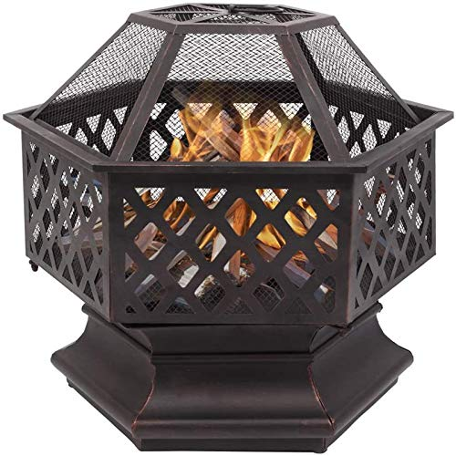 SEGMART 24.6'' Outdoor Fire Pit, Metal Hexagonal Shaped Fire Pit with Cover, Stove Wood Burning Bonfire Pit for Backyard Patio Garden Camping Party, Portable Fireplace Bowl for Outdoor Heating