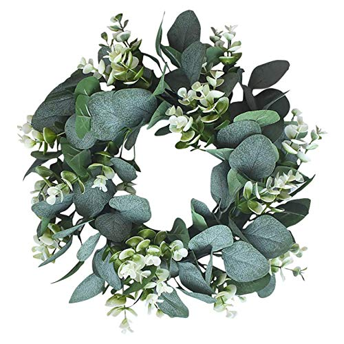 Artificial Eucalyptus Wreath for Front Door Green Spring Wreath for Wall Door Wreaths for All Seasons Leaf Wreath for Wall Window Party Festival Decoration, 33cm