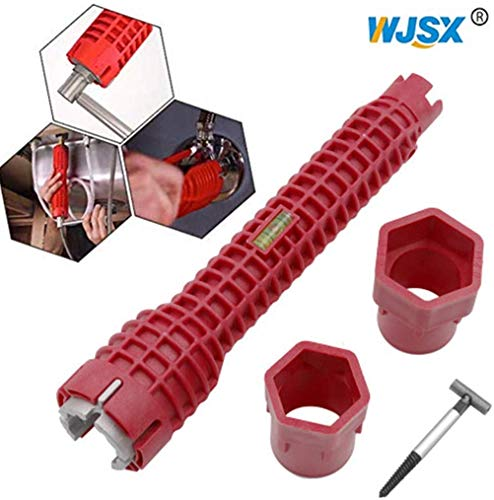 WJSX Anti-slip Kitchen Sink Repair Wrench Set Bathroom Faucet Assembly Plumbing Water Heater Spanner Home Hand Repair Installation Tools for Toilet Bowl/Sink/Bathroom/Kitchen Plumbing