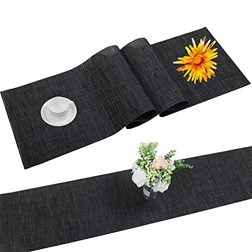 SHACOS Tischläufer Schwarz PVC Tischläufer Abwaschbar Hitzebeständig rutschfest Bambus Tischläufer Perfekt für Esstisch Restaurant Holztisch 30 X 180cm
