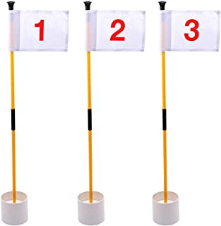 KINGTOP Golf Flagsticks Mini, Putting Green Flags for Yard, All 3 Feet, Golf Pin Flags Hole Cup Set, Portable 2-Section Design