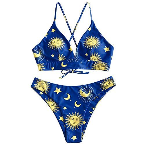 ZAFUL Damen zweiteiliger Dreieck-Bikini Set, gepolsterter hoch geschnittener Badeanzug mit Stern/Sonne/Mond Aufdruck (Blau, M - EU 38)