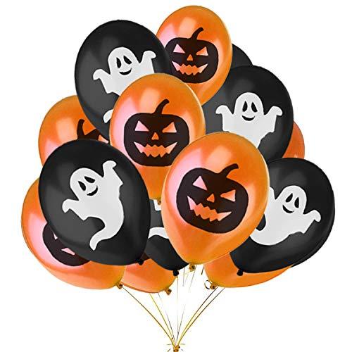 Jonami Hallowen Decorazioni Halloween Kit Casa – 50 Palloncini Halloween, Palloncini Nero e Arancione con Zucche e Fantasmi