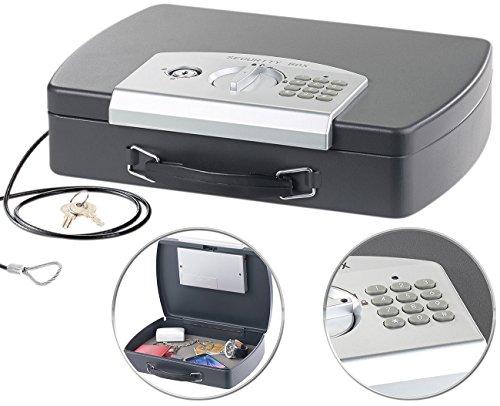 Xcase Geldkassette: Geld- & Dokumentenkassette, Stahl, Elektronik-Schloss, A4, Stahlkabel (Autosafe)