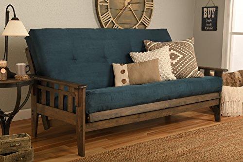 Kodiak Furniture Tucson Full Size Futon Set in Rustic Walnut Finish, Suede Navy