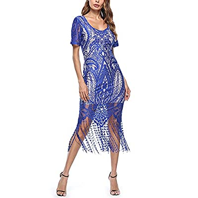 SELUXU Vintage Party Dress Long V Neck Tassel Cocktail Flapper Dress
