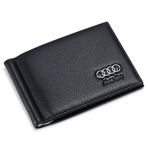 Audi Bifold Money Clip Wallet with 6 Credit Card Slots - Genuine Leather