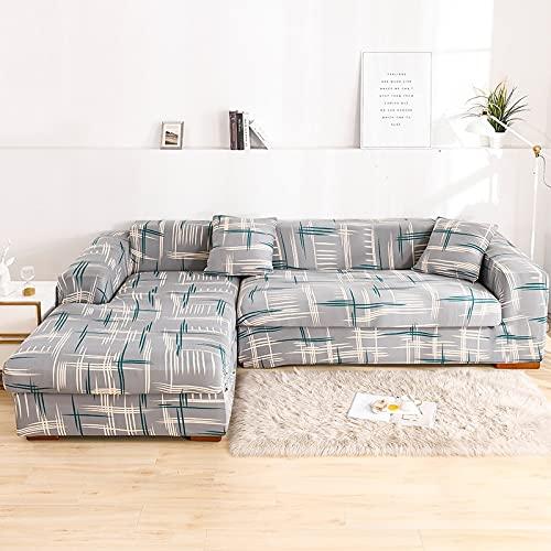 Juego de Fundas elásticas para sofá Fundas de sofá seccionales con Estampado de Hojas pastorales Decorativas Protector de sofá en Forma de L Abrigo Todo Incluido A5 3 plazas