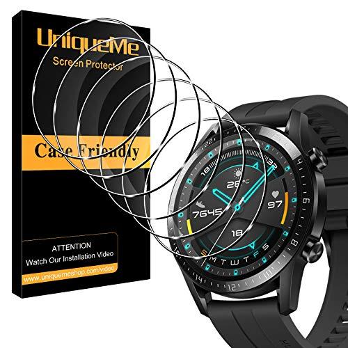 UniqueMe [6 Pack] Protector de Pantalla Compatible con Huawei Watch GT 2 46mm Cristal Templado, [Fácil instalación] HD Clear Vidrio