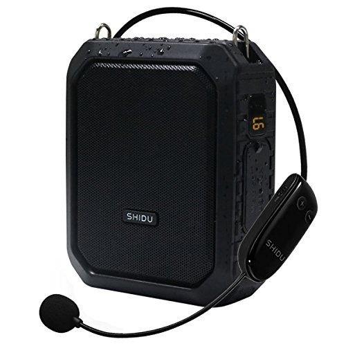 Wireless Voice Amplifier mit Headset Mikrofon 18W Voice Lautsprecher Portable Bluetooth Lautsprecher Wasserdicht IPX5 Power Bank für Outdoor-Aktivitäten, Dusche, Presenter, Verkäufer etc (M800UHF)