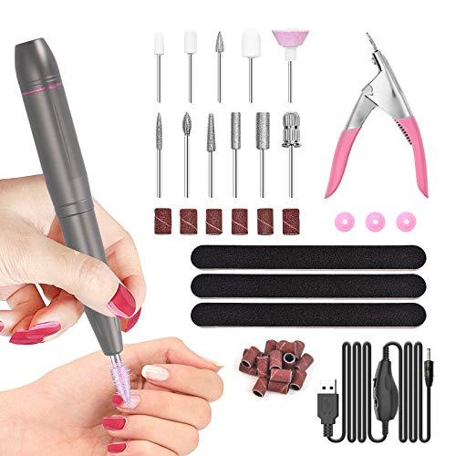 SHAWLAM Elektrische Nagelfeile Set für Gelnägel, Elektrische nagelfeile Maniküreset, 20000u/Min 11 in 1 USB Nagelknipser Set, DIY-Maniküre, Acrylnägel, Gelnägel, Kallus...