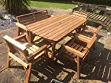 6' Table 1 Bench & 4 <span class='highlight'>Chairs</span>. Solid <span class='highlight'>Wooden</span> <span class='highlight'>Garden</span> Furniture Set. * SUPER STURDY *
