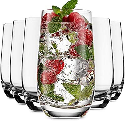 MITBAK 13 - OZ Highball Glasses (Set of 6)   Drinking Glasses Tumblers for Mixed Drinks, Water, Juice, beer, cocktail   Glassware Set, Excellent Gift   Glass cups Made In Slovakia