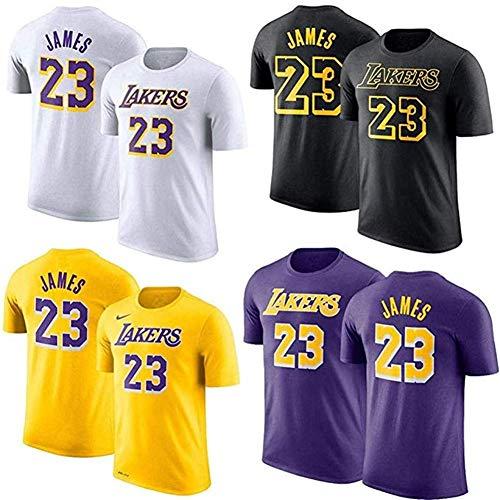HHUPII Camiseta De La NBA Los Angeles Lakers James # 23 Baloncesto, Mangas Cortas, Hombres, Estudiantes, Adolescentes JAMES23, Blanco (Color : Black, Size : S)