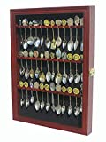 DisplayGifts Souvenir Tea Spoon Display Case Solid Wood Rack Wall Mountable Cabinet Real Glass Door Lockable Cherry Finish