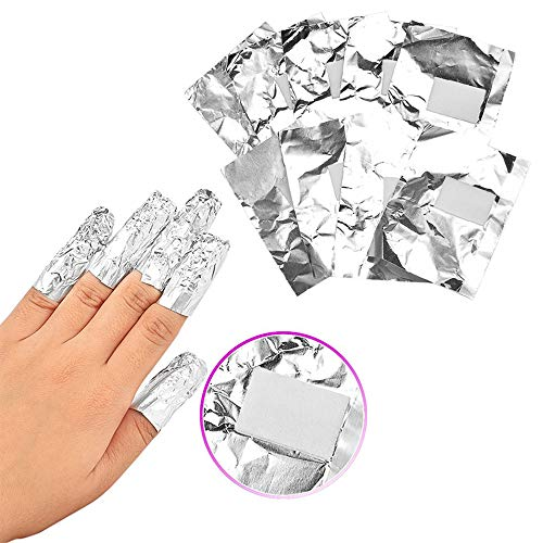 YANZHU Foil Gel Nail Polish Remover Set-Nail wrap for gel removal with Pre-attached Cotton Pad Triangle Cuticle Peeler Scraper for Acrylic/UV/Gel Polish Soak-off Removal