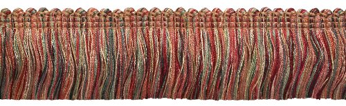 DÉCOPRO Red, Light Rose Baroque Collection Brush Fringe 45mm Long Style# 0175BB Color: Rose Bouquet - 7953 (Sold by The Yard - 91cm / 3 Ft / 36\