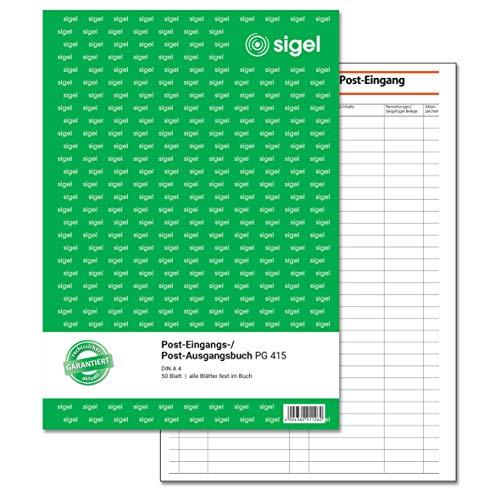 SIGEL PG415 Post-Eingangsbuch / Post-Ausgangsbuch, A4, 50 Blatt