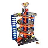 Hot Wheels City Mega garaje, pista de coches de juguete con almacenamiento de vehículos (Mattel HFH03)