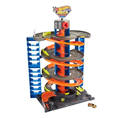 Hot Wheels Mega Garaje Pista de coches de juguete, almacena + de 60 vehículos, incluye 1 vehículo die-cast Mattel GTT95