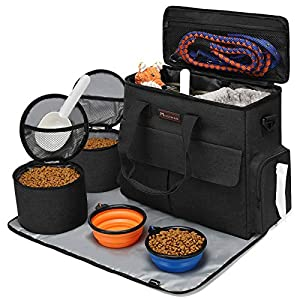 Modoker Dog Travel Bag,Weekend Pet Travel Set for Dog and Cat, Airline Approved Tote Organizer with Multi-Function Pockets