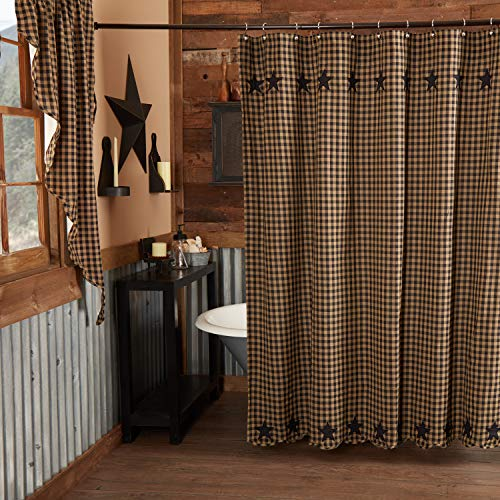 VHC Brands Black Star Shower Curtain 72x72 Country Rustic Primitive Design, Raven Black and Tan