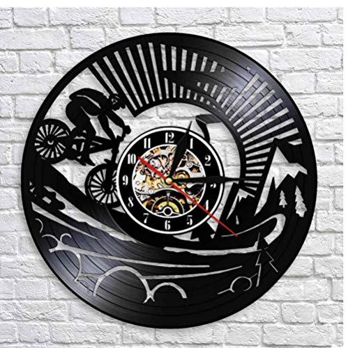 JHLP Vinyl Record Ontwerp Wandklok CD Vinyl Klok Mountainbike Thema Home Decor 3D Hangende Horloge Gift Voor Racing Fiets Liefhebber