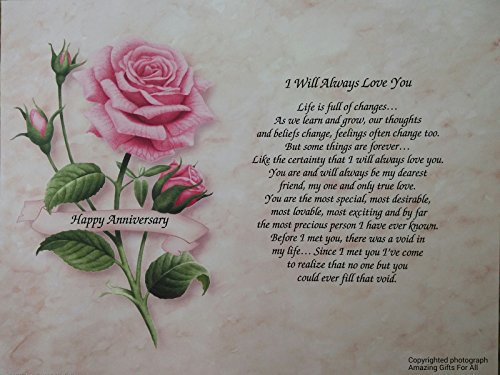"""Anniversary Gift """"I Will Always Love You"""" Poem For Wife Girlfriend Husband Boyfriend Pink Rose 1st 5th 10th 15th 20th 25th 30th"""