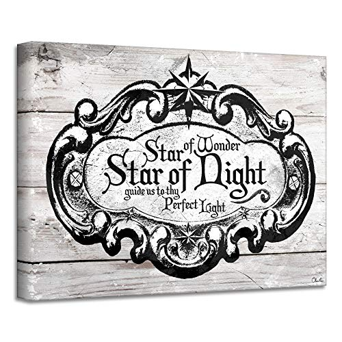 Crafted Creations Black and Beige 'Star of Wonder' Christmas Canvas Wall Art Decor 12
