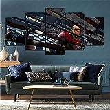 mmkow Flat Artist Canvas Set de 5 Piezas Videojuego Prey (2017) Pintura Lienzo Decoración del hogar Renovación 80x150cm (Marco)