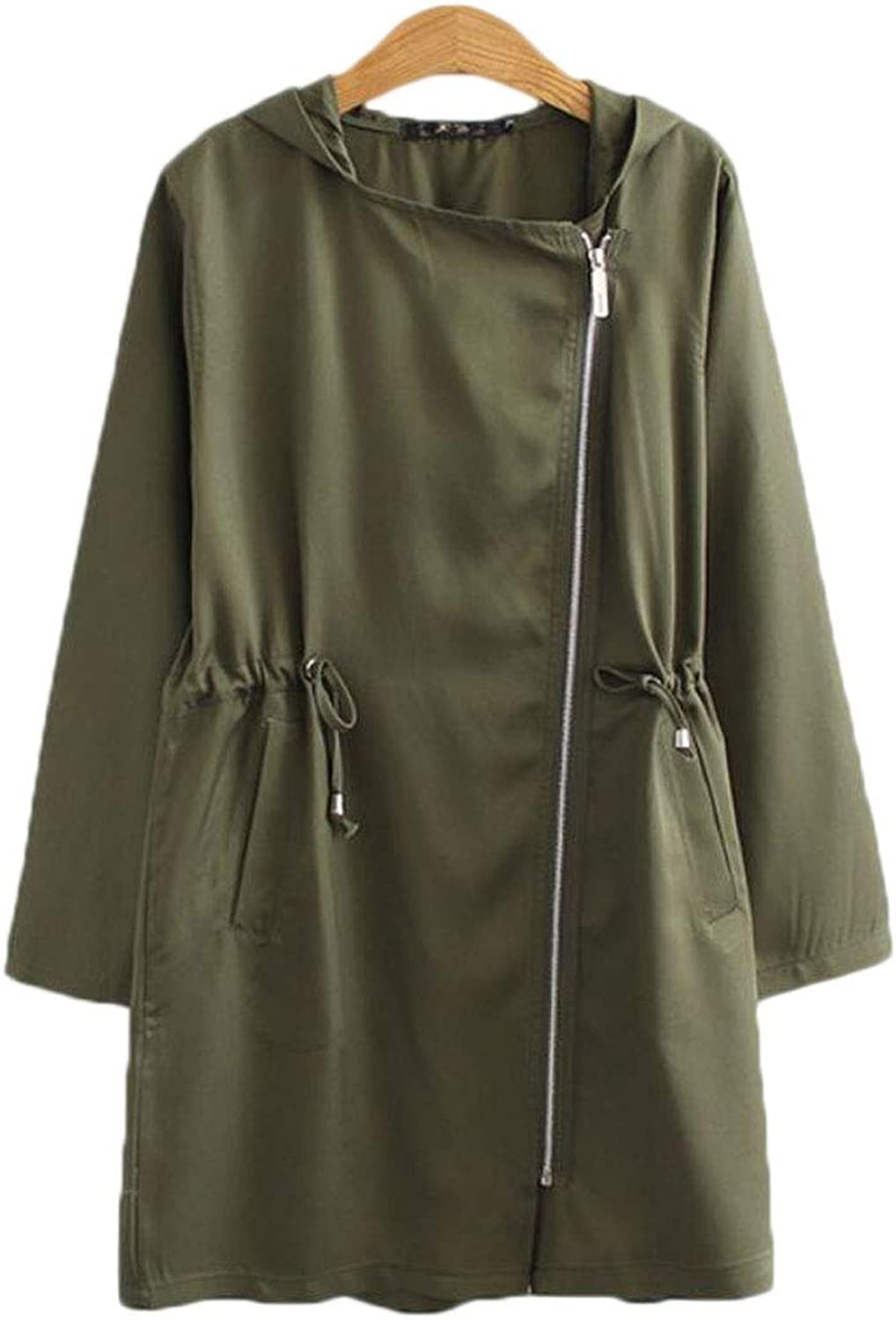Spring and Autumn Long of The Diagonal Zipper Single Layer Windbreaker Large Size Womens Loose Coat Red (color   Green, Size   XXXXL)