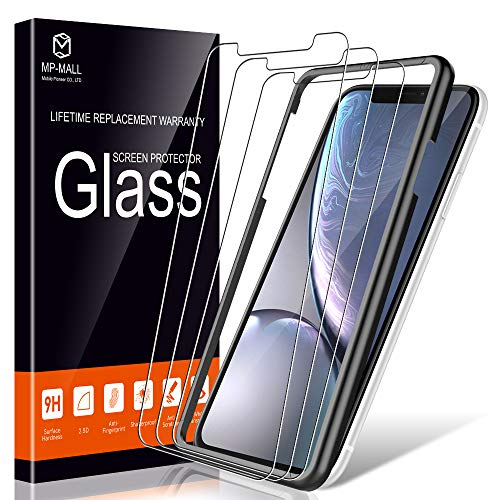 MP-MALL [3-Pack] Screen Protector for iPhone 11 / iPhone XR 6.1' Tempered Glass Frame Easy Installation, [Anti-Scratch]