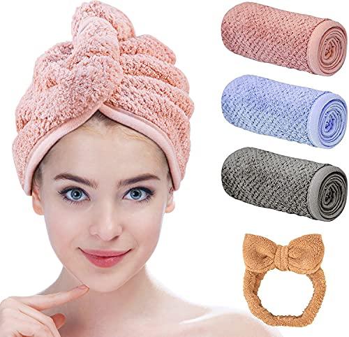 Maylisacc Mikrofaser Handtuch Haare Microfaser Handtücher 3 Stück Turban Handtuch mit Knopf Schnell Trocknender Haarturban schnelltrocknend Haarturban Haarschmuck mikrofaser Handtuch Microfasertuch