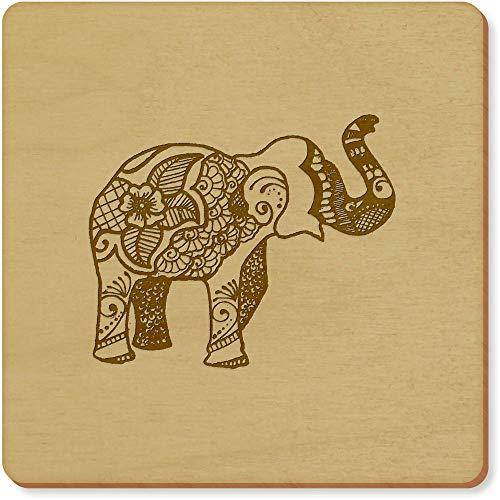 Azeeda 6 x 'Éléphant à Motifs' sous-Verres en Bois (CR00019838)