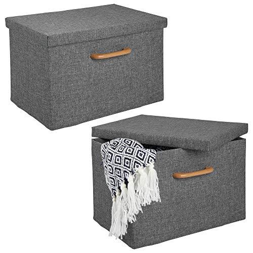 mDesign Juego de 2 cajas organizadoras – Caja apilable con estructura suave, tapa y asa de madera – Estable organizador de armario plegable en poliéster para baño o dormitorio – gris y marrón claro