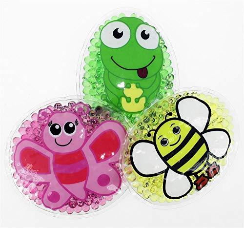 3 Kühlpads Schmetterling Biene Frosch Wärmepad mehrfach Kompresse Kühlkissen Kinder wärmen kühlen Tiermotiv